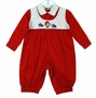 "<img src=""https://p11.secure.hostingprod.com/@grammies-attic.com/ssl/images/blue-sold-1.gif""> NEW Will'Beth Red and Winter White Romper with Holiday Embroidery"