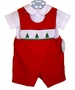 "<img src=""https://p11.secure.hostingprod.com/@grammies-attic.com/ssl/images/blue-sold-1.gif""> NEW Rosalina Red Smocked Shortall Set with Embroidered Christmas Trees"
