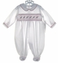 "<img src=""https://p11.secure.hostingprod.com/@grammies-attic.com/ssl/images/blue-sold-1.gif""> NEW Royal Child White Smocked Romper with Candy Cane Embroidery"