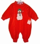 "<img src=""https://p11.secure.hostingprod.com/@grammies-attic.com/ssl/images/blue-sold-1.gif""> NEW Hearts Design Red Velour Romper with Appliqued Snowman"