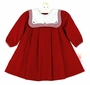 "<img src=""https://p11.secure.hostingprod.com/@grammies-attic.com/ssl/images/blue-sold-1.gif""> NEW Petit Ami Dark Red or Green Pleated Dress with Holly Embroidered Portrait Collar"