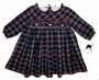 "<img src=""https://p11.secure.hostingprod.com/@grammies-attic.com/ssl/images/blue-sold-1.gif""> NEW Sarah Louise Navy Plaid Dress with White Embroidered Collar"