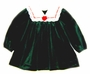"<img src=""https://p11.secure.hostingprod.com/@grammies-attic.com/ssl/images/blue-sold-1.gif""> Rare Editions Green Velvet Baby Dress with White Lace Edged Collar"