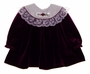 "<img src=""https://p11.secure.hostingprod.com/@grammies-attic.com/ssl/images/blue-sold-1.gif""> Baby Togs Purple Velour Toddler Dress with Cream Lace Collar"