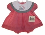 "<img src=""https://p11.secure.hostingprod.com/@grammies-attic.com/ssl/images/blue-sold-1.gif""> NEW Judy Lynn Red Checked Baby Dress and Bloomers with Holiday Appliqued Portrait Collar"