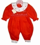 "<img src=""https://p11.secure.hostingprod.com/@grammies-attic.com/ssl/images/blue-sold-1.gif""> NEW Garden of Angels Red Smocked Bubble with Embroidered Portrait Collar"