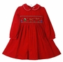 "<img src=""https://p11.secure.hostingprod.com/@grammies-attic.com/ssl/images/blue-sold-1.gif""> NEW Rare Editions Red Corduroy Smocked Dress with Santa Embroidery"