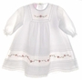 "<img src=""https://p11.secure.hostingprod.com/@grammies-attic.com/ssl/images/blue-sold-1.gif""> NEW Will'Beth White Cotton Pintucked Baby Dress and Bonnet with Lace and Red Embroidered Organdy"