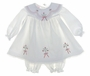 "<img src=""https://p11.secure.hostingprod.com/@grammies-attic.com/ssl/images/blue-sold-1.gif""> NEW Will'Beth White Baby Dress with Red Embroidery and Matching Bonnet and Pantaloons"