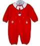 "<img src=""https://p11.secure.hostingprod.com/@grammies-attic.com/ssl/images/blue-sold-1.gif""> NEW Will'Beth Red Knit Romper with Holiday Appliques"