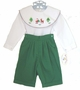 "<img src=""https://p11.secure.hostingprod.com/@grammies-attic.com/ssl/images/blue-sold-1.gif"">  Rosalina Green Pants Set with Santa Embroidered Shirt"