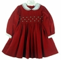 "<img src=""https://p11.secure.hostingprod.com/@grammies-attic.com/ssl/images/blue-sold-1.gif""> NEW Carriage Boutiques Red Corduroy Smocked Dress with White Collar and Cuffs"