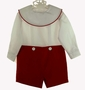 "<img src=""https://p11.secure.hostingprod.com/@grammies-attic.com/ssl/images/blue-sold-1.gif""> NEW Chabre Red Velvet and White Button on Shorts Set with Monogrammable Portrait Collar"