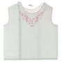 """<img src=""""https://p11.secure.hostingprod.com/@grammies-attic.com/ssl/images/blue-sold-1.gif""""> Heirloom 1950s White Diaper Shirt with Delicate Pink Embroidered Design"""