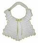 """<img src=""""https://p11.secure.hostingprod.com/@grammies-attic.com/ssl/images/blue-sold-1.gif""""> Vintage 1940s White Crocheted Bib with Yellow Edging"""