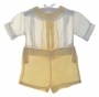 """<img src=""""https://p11.secure.hostingprod.com/@grammies-attic.com/ssl/images/blue-sold-1.gif""""> Heirloom 1930s Yellow and White Button On Shorts Set with Lace Trimmed Collar"""