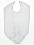 """<img src=""""https://p11.secure.hostingprod.com/@grammies-attic.com/ssl/images/blue-sold-1.gif""""> Vintage 1950s White Linen Embroidered Bib with Sunbonnet Girl Embroidery"""