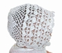 """<img src=""""https://p11.secure.hostingprod.com/@grammies-attic.com/ssl/images/blue-sold-1.gif""""> Heirloom Early 1900s Cotton Crocheted Christening Bonnet with Scallop Pattern"""