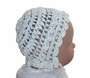 """<img src=""""https://p11.secure.hostingprod.com/@grammies-attic.com/ssl/images/blue-sold-1.gif""""> Heirloom Early 1900s White Cotton Crocheted Christening Bonnet with Scalloped Front"""