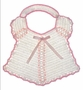 """<img src=""""https://p11.secure.hostingprod.com/@grammies-attic.com/ssl/images/blue-sold-1.gif""""> Vintage 1940s White Crocheted Bib with Pink Satin Ribbons"""