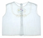 """<img src=""""https://p11.secure.hostingprod.com/@grammies-attic.com/ssl/images/blue-sold-1.gif""""> 1950s White Diaper Shirt with Embroidered Flowers and Yellow Trim"""