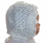 """<img src=""""https://p11.secure.hostingprod.com/@grammies-attic.com/ssl/images/blue-sold-1.gif""""> Heirloom Early 1900s Delicate White Cotton Crocheted Christening Bonnet with Net Lining"""