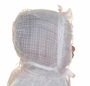 """<img src=""""https://p11.secure.hostingprod.com/@grammies-attic.com/ssl/images/blue-sold-1.gif""""> Heirloom 1920s Windowpane Organdy Bonnet with Palest Pink Silk Lining and Pink Ribbons"""