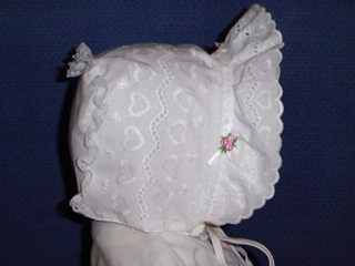 "<img src=""https://p11.secure.hostingprod.com/@grammies-attic.com/ssl/images/blue-sold-1.gif""> NEW White Eyelet Bonnet with Hearts & Rosebuds"