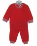 "<img src=""https://p11.secure.hostingprod.com/@grammies-attic.com/ssl/images/blue-sold-1.gif""> NEW Gabiano Red Cotton Knit Pajamas with Striped Cuffs"
