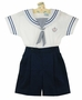 NEW Will'Beth Navy and White Shorts Set with Navy Striped Tie