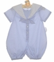 NEW Sophie Dess Pale Blue Cotton Sailor Romper with White Trim
