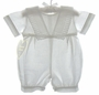 NEW Lauren Marie White Linen Sailor Romper with Openwork Embroidery Trim