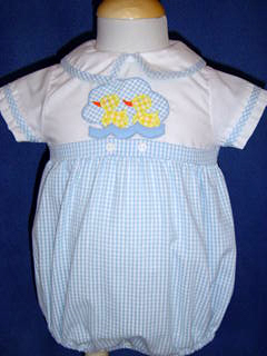 "<img src=""https://p11.secure.hostingprod.com/@grammies-attic.com/ssl/images/blue-sold-1.gif""> Robert Jackson Boy's Blue Gingham Shortall with Baby Ducks Applique"