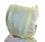 """<img src=""""https://p11.secure.hostingprod.com/@grammies-attic.com/ssl/images/blue-sold-1.gif""""> Vintage 1950s Pale Yellow Organdy Baby Bonnet with Lacy Ruffle"""