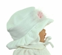 NEW White Fleece Bonnet with Maribou Rosebud Trim