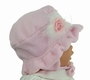 NEW Pink Fleece Bonnet with Maribou Rosebud Trim