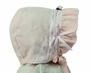 NEW Pink Corduroy Bonnet with Lace and Rosebud Trim