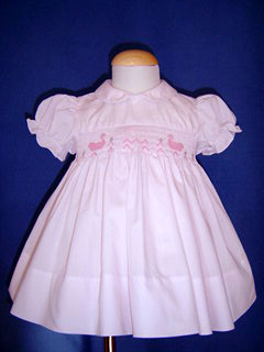 "<img src=""https://p11.secure.hostingprod.com/@grammies-attic.com/ssl/images/blue-sold-1.gif""> Feltman Brothers Pale Pink Smocked Dress with Embroidered Ducks"
