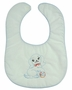 "<img src=""http://site.grammies-attic.com/images/blue-sold-1.gif""> NEW White Bib with Blue Trim and Vintage Style Puppy Embroidery"