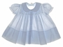 "<img src=""https://p11.secure.hostingprod.com/@grammies-attic.com/ssl/images/blue-sold-1.gif""> NEW Feltman Brothers Pale Blue Smocked Baby Dress with Tiny Embroidered Flowers"