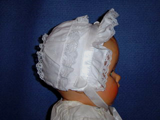 "<img src=""https://p11.secure.hostingprod.com/@grammies-attic.com/ssl/images/blue-sold-1.gif""> NEW Tiny White Eyelet Bonnet with Satin Ribbon Trim"