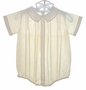 NEW Feltman Brothers Pale Yellow Pintucked Romper with Openwork Embroidery