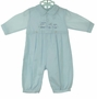 "<img src=""https://p11.secure.hostingprod.com/@grammies-attic.com/ssl/images/blue-sold-1.gif""> NEW Sarah Louise Pale Blue Romper with Embroidered Train"