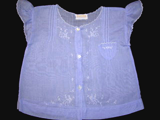 """<img src=""""https://p11.secure.hostingprod.com/@grammies-attic.com/ssl/images/blue-sold-1.gif""""> Vintage 1930s Blue Diaper Shirt with Pintucks and Embroidery"""