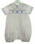 NEW Highland Porch White Cotton Smocked Romper with Birthday Cake Embroidery