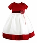 NEW Sarah Louise Red and White Satin Dress with Red Velvet Sash