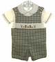 "<img src=""https://p11.secure.hostingprod.com/@grammies-attic.com/ssl/images/blue-sold-1.gif""> NEW Be Mine Green Plaid Smocked Shortall Set with Ducks Embroidery"