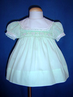 "<img src=""https://p11.secure.hostingprod.com/@grammies-attic.com/ssl/images/blue-sold-1.gif""> Polly Flinders Pastel Green Smocked Dress with Embroidered Hearts"
