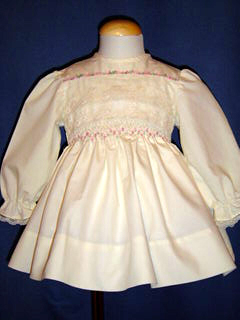 "<img src=""https://p11.secure.hostingprod.com/@grammies-attic.com/ssl/images/blue-sold-1.gif""> Polly Flinders Cream Smocked Dress with Lace & Embroidery"