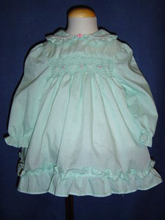 "<img src=""https://p11.secure.hostingprod.com/@grammies-attic.com/ssl/images/blue-sold-1.gif""> Polly Flinders Soft Green Smocked Dress with Pink Rosebud Trim"